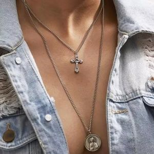 Layers Cross Jesus Lord Pendant charms Necklaces